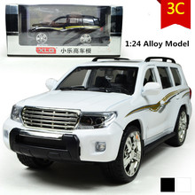 LAND CRUISER car model, 1:24 scale Alloy Pull Back cars,Diecast suv,flashing boy,girls toys,free shipping(China)