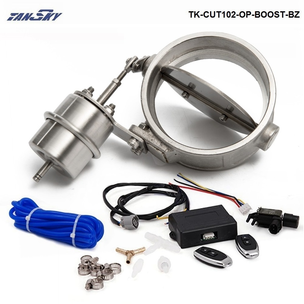 Exhaust Control Valve With Boost Actuator Cutout 102mm Pipe Opend with Wireless Remote Controller Set TK-CUT102-OP-BOOST-BZ