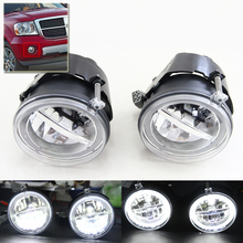 Brand New Auto Car Front Fog Light Assembly Kits W/ DRL Rings For Dodge Durango 07-09 Dakota 05-09 For Jeep Grand Cherokee 05-10