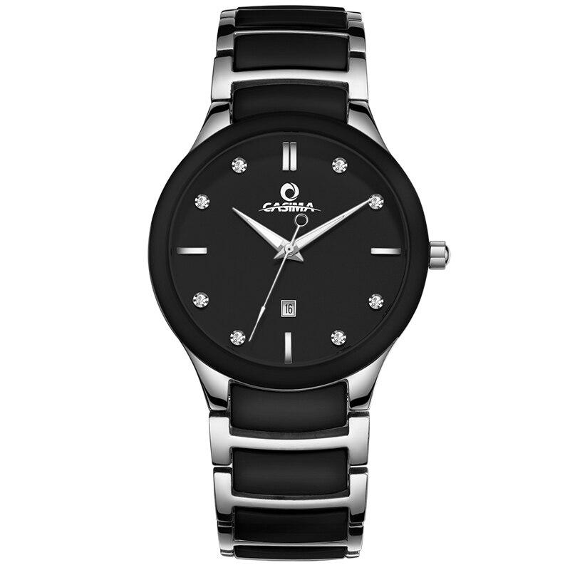 CASIMA simple casual waterproof ceramic quartz watch man black white date male clock 6003G<br>
