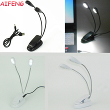AIFENG LED Night Light 2 Arm Mini 4LED Desk Lamps Reading Book light for Notebook Computer Desktop Powered by USB or AAA Battery
