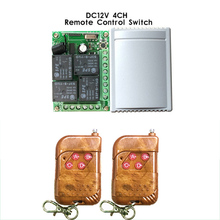 433Mhz Universal Wireless Remote Control Switch DC12V 4CH relay Receiver Module and 2pcs 4 channel RF Remote 433 Mhz Transmitter