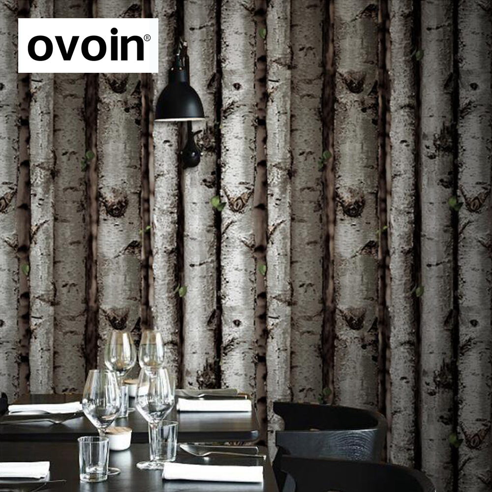White Birch Tree Wallpaper Dark Brown Forest Birch Wood Vinyl Wall Paper Dark Wallcovering Roll <br>