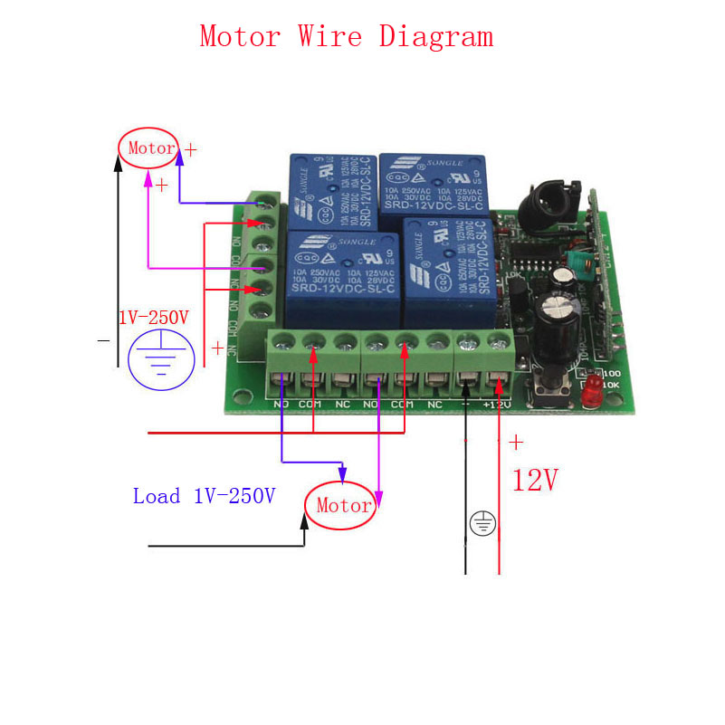 12V 4CH Remote Switch 433MHz Electric Door Remote Control Switch Universal 12V 4CH 315MHz433MHz Transeiver Module (6)