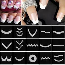 18 Sheets/Set French Style Nail Manicure Hollow Stencils Sticker DIY Nail Art Tips Guides Stencil Strip 3D Vinyls Decals Tools(China)
