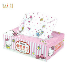 Hello Kitty Box Paper Extraction KT Cute Cartoon Color Printing Face-cloth Paper Tissue Box Packing Specification 150*110*50mm