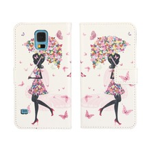 PU Leather Cover with Umbrella girl For Samsung Galaxy S5 Case Umbrella Girl PU Leather Cover with Stand For GalaxyS5 Case i9600