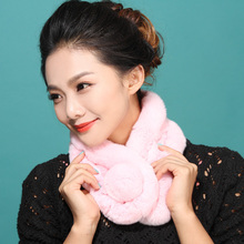 2015 autumn winter snow decoration diy scarf pendants Real Rex Rabbit Fur neck warmer scarf Woman  Winter Scarves fashion ball