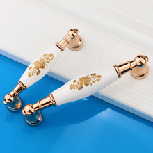1pcs Cabinet Drawer Knob Door Handle Ceramic Knobs and Pulls Golden Mental Base Ceramic Drawer Handle for Cupboard with screws(China)