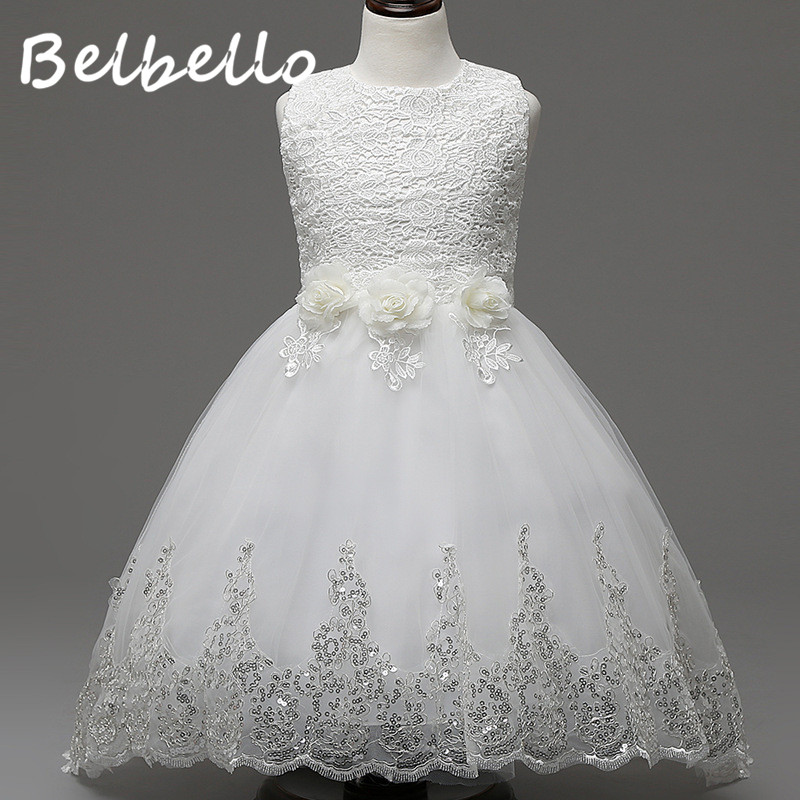 Belbello Girls Flower Dress Summer Kid Children Princess Dress Mesh Floral Sequins Dress Sweet Casual Fashion Children Clothing<br>