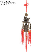 Chinese Traditional Dragons Coins Feng Shui Wind Chime Bell With Tassels for Good Luck Fortune Home Car Hanging Decoration Gift