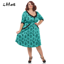 IHOT vestido de festa 2017 spring summer V Neck Lace Patchwork Vintage Retro 50s 60s Party Rockabilly Skater dress Women clothes(China)