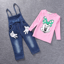 New Fashion Baby Girls Minnie Mouse Clothing Set Kids Clothes Sets cotton long sleeve shirt + Overall jeans fashion suit 2pc Set