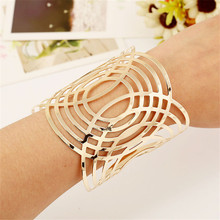 2017 women oval Gold-color bracelet wide wrap luxury egyptian arm bangle cuff big modern geometric circle jewelry west bijoux