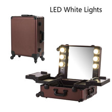 Coffee LED White Light Makeup Artist Train Case Professional 4-Wheels Carry-on Removable Rolling Makeup Case