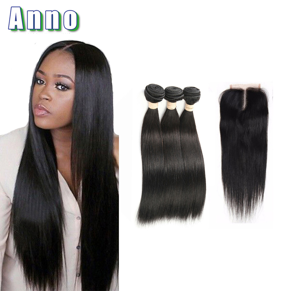 Brazilian Straight Hair With Closure Brazilian Virgin Hair With Closure Tissage Bresilienne Avec closure Human Hair With Closure<br><br>Aliexpress
