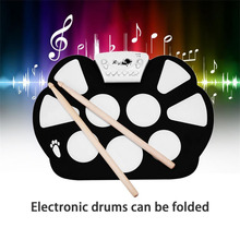 TSAI Electronic Drum Pad Kit Portable 9 Pads Digital USB Roll up Foldable Silicone With Drum Sticks Foot Pedals for musical play(China)