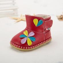 2017 winter baby boots girls shoes beautiful flower soft sole baby shoes high quality PU warm lining child toddler girl shoes