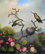 Handpainted Animal Painting Decorative Painting Ruby Throated Hummingbird by Martin Johnson Heade Painting Reproductions