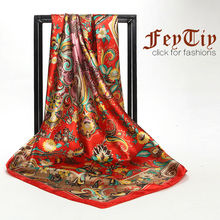"2017 New Arrival Fashion Silk Satin Scarves with Red Flower Print Wholesale Euro Style Square Big Head Shawl Hijab Scarf 35""*35"""