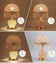 Fashion ofhead k9 crystal table lamp luxury crystal table lamp for bedroom lobby table lamp with remote control 3 Color Optional(China)