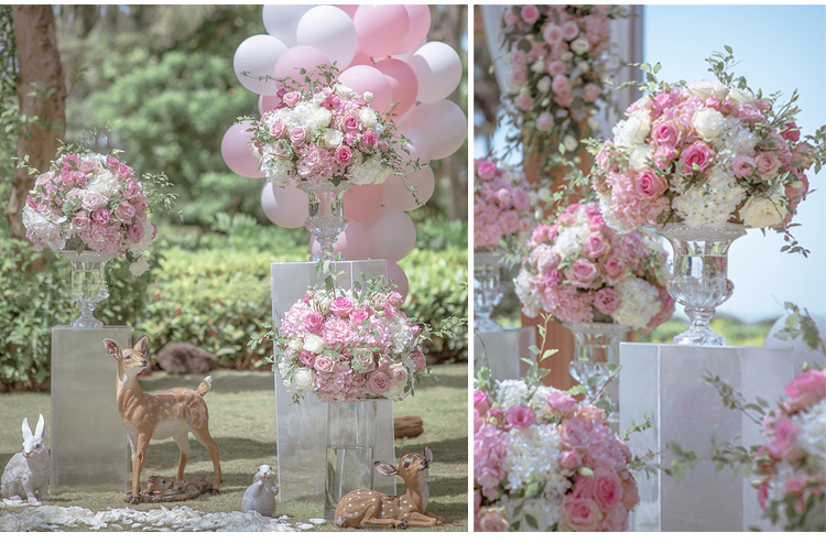 JAROWN Artificial Wedding Flower Ball Simulation Rose Hydrangea Flowers Hemisphere Roman Column Decor Home Party Decor Flores (21)