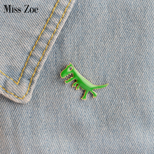 Miss Zoe Cartoon Dinosaur Tyrannosaurus rex Brooch Button Pins Denim Jacket Pin Badge for Bag Cute Animal Jewelry Gift for Kids