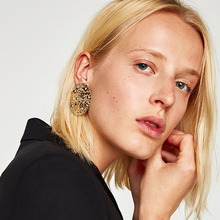 2017 New European Punk Exaggerated Big Round Earrings For Women Statement Crystal Stud Earrings Brincos Jewelry(China)
