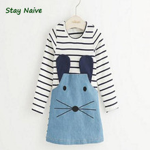 Stay Naive new 2017 striped girl dress long sleeves cute mouse children's clothing girl dress denim child's clothes(China)