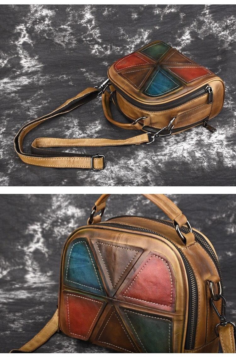 Woman Handmade Vintage Genuine Leather Handbags Ladies Retro Shoulder Messenger Bag Tanned Leather Hand-printed Womans Bag 7