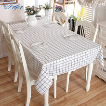 Vintage Cotton Linen Tablecloth Simple Black and White Lattice Tea Table Cloth Home Use Rectangle Washable Dining Desk Covers