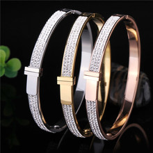 Hot Women Bangles Bracelets Crystals Buckle Open Cuff Stainless Steel Gold Rose Gold Luxury Famous Brand Top Jewelry Wholesales