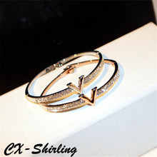 CX-Shirling 100% Real Picture Luxury Crystal V Design Bangle For Women Arm Cuff Bangles Jewelry Bracelets for Women Good quality(China)