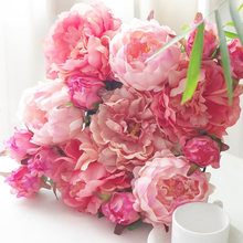 Large Artificial French Peony Heads Silk Flowers Home Decor DIY Accessories for Background Flower Wall Making 10pcs/lot(China)