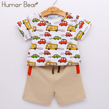 Humor Bear Summer NEW Baby Boys Clothes Set Boys Cartoon T shirt + Pant 2 Pcs Set Casual Kids Set Childrens Clothes(China)