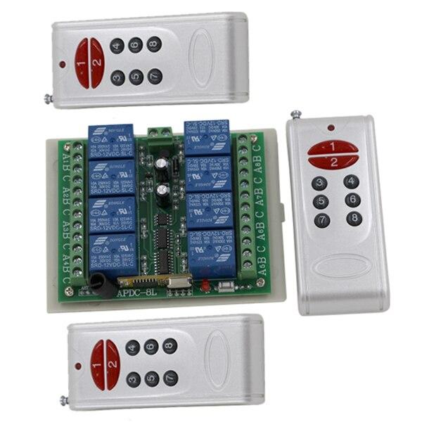 DC 12V 10A 8CH RF Wireless Remote Control Switch System, 3X Transmitters + Receiver, Smart Remote Control Switch SKU: 5002<br>