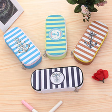 Korean Navy Pencil case for kids Cute PU Big capacity pencil bag Kawaii Stationery pouch office school supplies Estuche escolar(China)