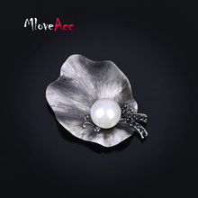 MloveAcc Antique European Imitation Pearl Leaf Booches Pins for Women Popular Party Brooches Jewelry Scarf Accessories(China)