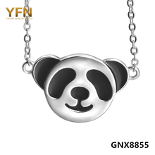 100% Real Pure 925 Sterling Silver Pendant Necklace Fashion Jewelry Black White Cute Panda Necklace For Women GNX8855