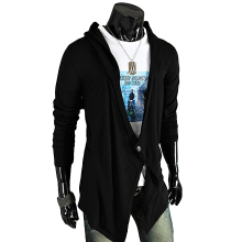 One Button Loose Irregular Mens Cardigans Coats Pull Homme Long Sleeve Hooded Black Gray Sweater Knitwear Male Sueter Hombre Top