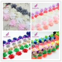 Lucia crafts Approx 5.5cm 3D Chiffon Flowers Lace Trim Sewing Supplies Dress Decoration Lace Fabric Applique 050025085