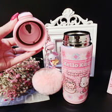 JOUDOO Kawaii Hello Kitty Thermos Cup 500ML Stainless Steel Thermal Bottle Fur Pendent Birthday Christmas Gift for Kids(China)
