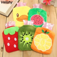Velishy 1PC Cartoon Rubber HOT Water Bottle Bag Hand Feet Warming Plush Warm Relaxing Heat Cold Hot-water Home Handbags(China)