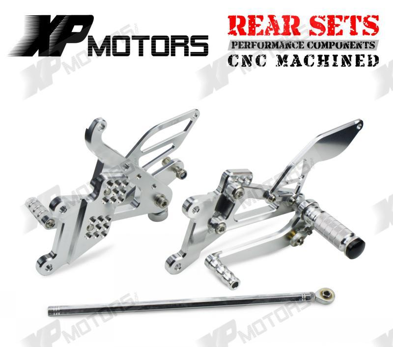Silver CNC Race Adjustable Foot pegs Rearset Footrests Rear Sets For Yamaha YZF-R6S 2006 2007 2008 2009<br><br>Aliexpress