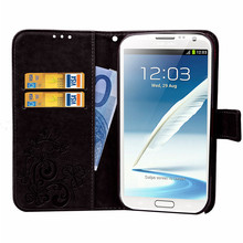 For Samsung Galaxy Note 2 Case Leather Wallet Flip PU Case For Samsung Note 2 N7100 Note2 Soft Silicon Phone Cover Funda(China)