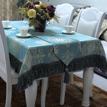 High Quality Imitated Silk Table Cover / Floral Lace Royal Blue Tablecloth / Custom Table Decoration Accessories Table Cloth Set