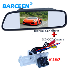 "Apply for Renault Fluence/Dacia Duster/Megane 3/for Nissan Terrano 5""car screen mirror +car backup camera 8 led on sale"