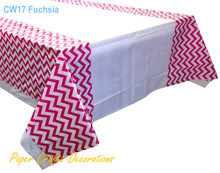 108*180cm Fuchsia Chevron Disposable Plastic Tablecloths Table Cover Wedding Holiday Kids Party Decorations