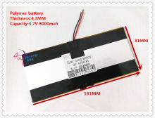 3.7V 8000mAH SD 4318181 ( polymer lithium ion / Li-ion battery ) for tablet pc PIPO M9 pro 3g / max M9 quad core(China)