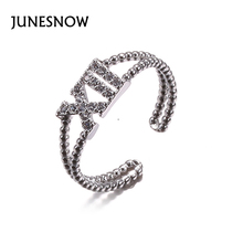 JUNESNOW Fashion Rings for Women XII Letter X Shape Ring Zirconia Micro Paved Silver Plated Original Jewelry Valentine's Day Gif(China)
